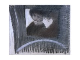 In a Cab (Women Dressed in Black, One Wearing a Veil, in a Cab) Reproduction giclée Premium par Giuseppe De Nittis