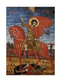 Saint Demetrio, on a Red Horse Piercing His Enemy Posters by Joani Cetiri