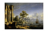 Seascape with Classical Ruins with Narnian Ship Dawn Treader, C. 1750. Poster