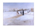 Avenue De Bois De Boulogne (Paris with Snow, Arc De Triomphe) Poster by Giuseppe De Nittis