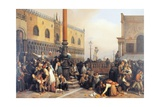Extraction of a Lottery in Saint Mark's Square, Venice Giclee Print by Eugenio Bosa