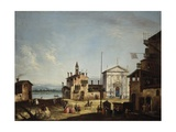 Imaginary View with Village on a Lagoon Print by Francesco Albotto