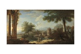 Landscape with Ruins and Rustic People, C. 1750 Posters