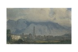 View of Belluno and Mount Serva Covered with Clouds Posters by Ippolito Caffi
