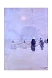 Foggy Sunset (People Walking) Affiche par Giuseppe De Nittis