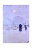 Foggy Sunset (People Walking) Print by Giuseppe De Nittis