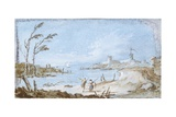 Landscape of a Stream with Towers Poster by Giacomo Guardi
