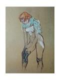 Naked Woman Putting a Stocking On Kunst av Henri de Toulouse-Lautrec