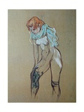 Naked Woman Putting a Stocking On Art by Henri de Toulouse-Lautrec