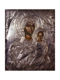 Mother of God with Child Icon with Embossed Silver Prints