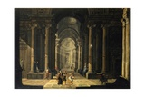 Mythological Scene Inside Perspective of a Baroque Palace Posters