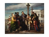 Titian Meets the Young Veronese on Ponte Della Paglia Print by Antonio Zona