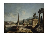 Imaginary View with Equestrian Monument and Obelisk Posters by Francesco Albotto