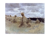 Field Heaps (Crows in a Field of Wheat Sheaves) Print by Giuseppe De Nittis