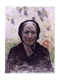 Old Woman (Dressed in Black, with Wisteria) Reproduction giclée Premium par Giuseppe De Nittis