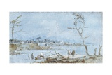 Landscape with a Stream of Water and Fisherman Prints by Giacomo Guardi