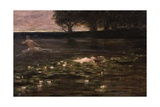 Water Lily (Female Nude Floats in Lily Pads as Male Wades in Distance) Posters by Cesare Laurenti