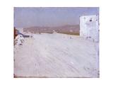 Sunny Landscape (With White Road and Building) Poster par Giuseppe De Nittis