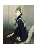 Marquise Franzoni Sitting with Blue Dress with Embroidery Art by Giovanni Boldini