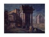 Classical Ruins with Men Forging Metal Plakater af Vittorio Maria Bigari