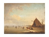 Winter Scene with Skaters, after Adriaen Van De Velde Giclee Print by Adriaen van de Velde