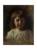 Mariella (Baby in White Dress and Pink Ribbon) Print by Demetrio Cosola