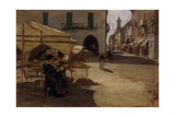 Wine of the Pastor (Woman Sits in to wn Square) Láminas por Demetrio Cosola