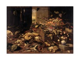 Still Life (Interior with Game, Fish, Fruit, Flowers, Cats and Dogs), 1645-79 Poster by Jan van Kessel