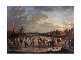Frozen River with Skaters, after Bout Pieter, 1690 - 1710 Giclee Print