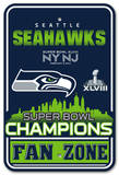 Super Bowl XLVIII Champion Seattle Seahawks Plastic Parking Sign Wall Sign