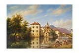 Landscape in Lombardy (River with to wn and People Working) Prints by Giuseppe Cannelli