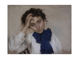 Portrait of Young Woman with Blue Tie Poster by Oreste Da Molin