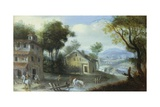 Landscape with Buildings and People, C. 1650-1700 Giclee Print