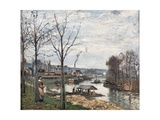 Port-Marly Near Pontoise, the Washing House Affiche par Camille Pissarro