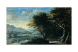 Rocky Wooded Landscape with Asleep Peasants, C.1650-1700 Print