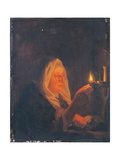 Old Woman with Candle Prints by Bartholomaus Maton