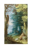 Wooded Landscape with St. John the Baptist Giclee Print