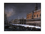 Venice with St. Mark's Pier under the Snow Art by Giuseppe Borsato