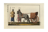 Persian with Spear and Shield, and a Persian Chariot Giclee Print