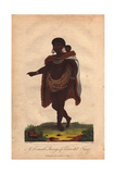 A Woman of Terra Del Fuego, South America, Carrying a Baby on Her Back Giclee Print