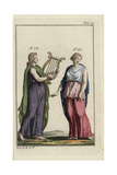 Emperor Nero Playing a Harp and Woman in Greek Cloak, Peplos Giclee Print