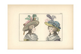 Woman in Yellow Caraco and Straw Hat, and Woman in Violet-Blue Caraco and Yellow Gauze Hat Giclee Print