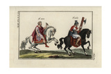Emperor Marcus Aurelius on Horseback, and a Mounted Lictor with Fasces (Hatchet) Giclee Print