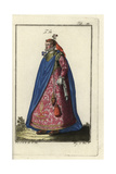 Noblewoman of Genoa with Flowers in Her Hair and Bodice Giclee Print