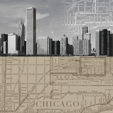 Chicago Map II Giclee Print by  The Vintage Collection