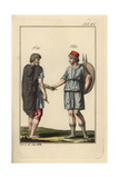 Spaniard and Spanish Woman with Shield and Spears Giclee Print