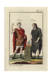 Emperor Augustus in the Paludamentum (War Cloak) and a Roman Performing a Sacrifice Giclee Print