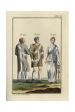 Two Roman Men Wearing the Dalmatic (Tunic) and Lorum (Sash), and a Priestess of the Goddess Isis Giclee Print