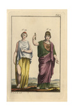 Pallas Athena in Undergarments and Cloak and Spartan Girl in Overdress and Open Skirt Giclee Print