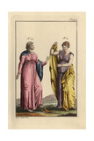 Two Daughters of the Goddess Niobe with Greek Undergarments (Stolla) and Cloaks (Pallium) Giclee Print